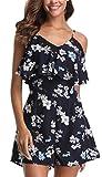 Miss Moly Damen Jumpsuit Ärmellos Sommerkleid Blumenmuster Mini Schulter, Strandkleid,Marine,X-Small(DE 36)