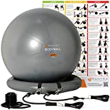 Gymnastikball | Pilates Ball | Sitzball Büro - 55cm/ 65cm/ 75cm Geburtsball für Schwangerschaft, Balance, Yoga & Fitness. Berstsicher Pezziball Mit Widerstandsbänder, Stabilitätsbasis, Poster & Pumpe