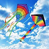 Homegoo Drachen Flugdrachen Einleiner 2 Packs, Easy Flyer große Regenbogen Delta Drachen und Riesige Bunte Diamant-Drachen für Erwachsene Outdoor Aktivitäten Starke oder leichte Winde