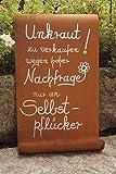 Edelrost Tafel mit Welle 39x25 Unkraut Gartenschild Dekoration Spruch Handarbeit
