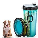 VANDA Pet Travel Wasserflasche - Tragbarer Trinkflaschen Feeder-Spender und für Reisen 2-in-1-Doppelkammerflasche mit 2 Zusammenklappbaren Schalen Hunde Katzen-Feeder Outdoor-Reisen Machen (Blau)