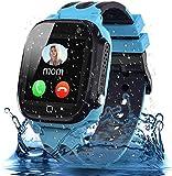 Smooce Kinder Smartwatch Telefon, wasserdichte Smartwatch für Kinder mit LBS Tracker SOS Voice Chat und Kameraspiel für 3-12 Jahre alte Kinder Geburtstag (Blau)
