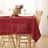 Deconovo Tischdecke Wasserabweisend Tischdecke Lotuseffekt Tischtuch Leinenoptik 130x220 cm Rot