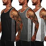COOFANDY Tank top Herren 3er Pack Fitness Muskel Shirt Bodybuilding Training Sport ärmelloses T-Shirt Schwarz weiß grau