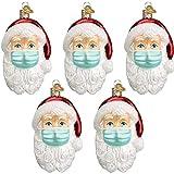 DUWIN Anhänger Weihnachtsmann mit Maske, Weihnachtlicher Baumschmuck Weihnachtsbaum Anhänger Christbaumschmuck Baumschmuck Zur Weihnachtsdekoration,5PCS