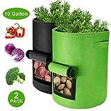 Homealexa Kartoffel Pflanzsack, Pflanzen Tasche Pflanzbeutel 40L/10 Gallonen mit Griffen und Sichtfenster Klettverschluss, Dauerhaft Atmungsaktiv Beutel Gemüse Grow Bag, 2er Pack
