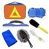 Phiraggit Reinigungsset für Auto, Reinigung, Bürste, Felgen, Fenster, Wasserschaber, 3 Mikrofasertuch