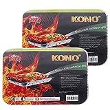 Kono Leichter Einweg-Grill, zusammenklappbar, für den Außenbereich, Holzkohlegrill (2 Stück)