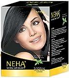 Neha Pflanzliche Natürliche Haarfarbe mit Henna & Kräutern - SCHWARZ | Soft Black (BOX: 10x15g=150g) Silk Glanz-Creme Gloss Mehandi