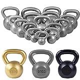 GORILLA SPORTS® Kettlebell 2-32 kg Gusseisen Einzeln/Set – Fitness-Kugelhantel in 17 Gewichtsvarianten Gold/Silber/Schwarz (24 KG, Silber)