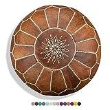 Marokkanischer Echtleder Pouf - Cognac Braun - Handgefertigt - gefüllt geliefert - Ottoman Sitzsack Fußhocker …