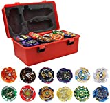 3T6B 12 Stück Kampfkreisel Set, 12 Neue Nado Kreisel, Wirbelwind Gyros Burst Turbo 2 Kreisel mit Trägerraketen, Bay Battling Tops Gyro Pocket Box Pro-Geschenke für Kinder