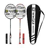 Whizz Kratzfestes Design Badminton Schläger Racket Set mit Tasche Griffband, 100% Graphit (Y56 Schwarz+Rot)
