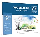 Premium Aquarellpapier (A3, 300 g/m², 10 Blatt), Lelengder Aquarellblock Glatt Watercolor Paper, Strukturiert & Matt Aquarell Papier für Aquarellmalerei Wasserfarben Gouache Acryl & Aquarelltechniken