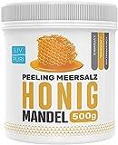 LivPuri Peeling Meersalz Salz Honig Mandel mit Jojobaöl, 500g Peeling Honig optimal anwendbar als Körperpeeling, Duschpeeling, Saunasalz, Body Scrub, Saunazubehör