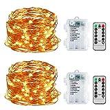 LED Lichterkette, 2 Stück 5M 50LED Lichterkette 8 Modi Außenbeleuchtung Batteriebetrieben mit Fernbedienung für Outdoor, Innenbeleuchtung,Weihnacht und Deko(Warmweiß)