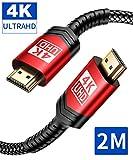 4K HDMI Kabel 2M, JSAUX HDMI 2.0 auf HDMI Kabel 4K@60Hz Highspeed 18Gbps Kompatibel für UHD 2160P, HDR, Highspeed mit Ethernet, ARC, PS3/PS4, Xbox One/360, HDTV und Monitor Schwarz/Rot