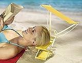 Kopfliege SUNNYBOY mit Sonnendach - Kopfstütze - Strand - Sonnenliege - Sonnenschutz - Sonnenschirm - Strandstuhl - Strandschutz - Strandschirm - Sonnenbrand - Sonnenblende - gelb - inkl. Tragetasche
