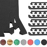 GORILLA SPORTS® 8 Schutzmatten-Endstücke Schaumstoff – Bodenmatten-Randstücke mit 60 cm-Länge + 1,2 cm-Dicke in Schwarz