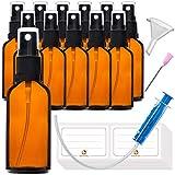 12x50ml Sprühflasche Klein Glasflasche mit Zerstäuber - Apothekerglas spruehflasche aus Braunglas Set Inklusive 28 Hilfszubehör