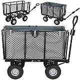 MALATEC Bollerwagen Gartenwagen Handwagen mit Innenverkleidung herausnehmbare Plane mit Griffen bis 600 kg Schwarz 9040