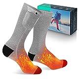 MECO ELEVERDE Beheizte Socken, 3.7V 4000mAh Wärmesocken, 3 Einstellbare Temperatur Fusswärmer, Heated Socks von Wiederaufladbaren Batterie, Skisocken und Sneaker Socken Herren Damen M
