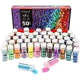 Magicfly Glitzerpulver, 50 x 10g Glitzer Farben Set für Basteln Feine Glitzerpulver für Nägel, Gesicht zum Basteln für Halloween