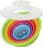Kigima Schüsselset Rainbow 8-teilig Salatschüssel, Rührschüsseln (5X Schüsseln 0,5l/0,75l/1,6l/3,6l/6,0l, Spritzschutzdeckel und Sieb)