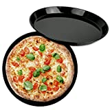 Hausfelder Emaille Pizzableche Set - 32cm runde Bleche, Backblech Set (2 Stück Pizzableche Emaille)