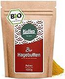 Hagebuttenpulver Bio 1000g - Rosa Canina - Rohkostqualität - aus ganzen Hagebutten gemahlen - abgefüllt und kontrolliert in Deutschland (DE-ÖKO-005)