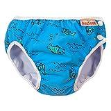 ImseVimse Schwimmwindeln für Jungen, Aquawindel, Badewindelhose Seepferd, wasserblaue Fische, Gr. M 7-10kg