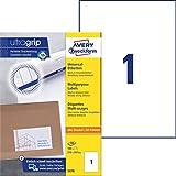 AVERY Zweckform 3478 Universal Etiketten (100 Klebeetiketten, 210x297mm, Papier matt, bedruckbare Versandetiketten, selbstklebende Versandaufkleber mit ultragrip) 100 Blatt, weiß