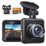 APEMAN Dashcam Vorne und Hinten Autokamer mit MicroSD-Karte, 1080P FHD Mini Dual Lens Kamera with Dual 170 ° Weitwinkel mit Nachtsicht, G-Sensor, Parküberwachung, Loop-Aufnahm und WDR