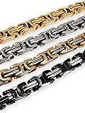 Fly Style 5 mm Königskette oder Armband aus Edelstahl in 4 Farben | 18-80 cm, Farbwahl:Silber/schwarz, Längen:45 cm