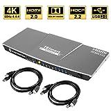 TESmart 4fach HDMI KVM Switch – 4K Ultra HD mit 3840 x 2160 bei 60 Hz 4:4:4; unterstützt USB 2.0 Gerätebedienung bis max. 4 Computer/Server/DVR (Grau)