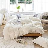 Sacebeleu Plüsch Bettwäsche Set 220x240cm Weiß Creme Warme Winter Flauschig Flanell Biber Mädchen Bettbezug Deckenbezug mit Reißverschluss und 2 Kissenbezug 80x80cm Doppelbett