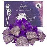 LAVODIA 12x Lavendelsäckchen mit Lavendelblüten, Mottenschutz gegen Motten im Kleiderschrank oder als Lavendel Duftsäckchen zum Entspannen und Schlafen, 120g (12x 10g Lavendel Säckchen)