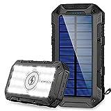 FKANT Powerbank Wireless 26800mAh, Solar Powerbank Schnellladung Qi Powerbank mit 4 Ausgängen(3 USB+Qi)/2 Eingabe (Micro+Solar) 28 LED Licht Outdoor Solar Akkupack für iPhone, Samsung, Huawei, iPad