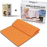 BonAura® Backmatte Silikon statt Backpapier - Silikonmatte als Backform für Mini Halbkugel Hundeleckerli - Wiederverwendbare Mehrweg Backmatten einfach als Backunterlage benutzen - Inklusive eBook