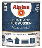 Alpina Buntlack Metalllack 0,75L enzianblau Ral 5010 seidenmatt Außen