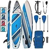 ALPIDEX Stand Up Paddle Set SUP 320 x 76 x 15 cm max.130 kg Aufblasbar Stabil Leicht Komplett Set Tragetasche Paddel Finnen Luftpumpe Leash Repair Kit, Farbe:Water