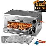 GOURMETmaxx Beef Maker XL   Oberhitze Gasgrill aus Edelstahl   800° C   Hochleistungs Grill für Steaks wie vom Profi   Stufenlos regulierbarer Gas-Keramikbrenner   Piezozünder, 7 Höhenstufen