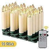 KOHREE 20er LED Kerzen Dimmbar mit Fernbedienung Timer Beweglicher Flamme, Flammenlose Flackernde Elektrische Kerzen, Batteriebetrieben IP64, Kabellose Weihnachtsbaumkerzen für Feiertag Hochzeit Deko