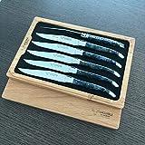 Laguiole en Aubrac Steakmesser-Set, komplett geschmiedet, Edelstahl, 6-teilig, mit stabilisiertem blauen Buckeye-Wurzelgriff, glänzende Bolster aus Edelstahl