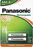 Panasonic Akku 750 mAh NiMH P03 HR03 Micro AAA Rechargeable Accu Ideal for Dect / für Schnurlostelefone 2er-Packung