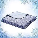 Elegear 2in1 Mikrofaser Selbstkühlende Decke, Kühldecke Arc-Chill Kuscheldecke aus Baumwolle Weiche Wohndecke Warm Sofadecke Reisedecke zweiseitige Decke für Erwachsene und Kinder - Blau 200 x 150 cm