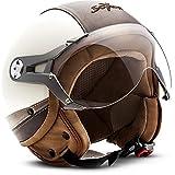 "Soxon® SP-325 Urban ""Creme"" · Jet-Helm · Motorrad-Helm Roller-Helm Scooter-Helm Moped Mofa-Helm Chopper Retro Vespa Vintage Pilot · ECE 22.05 Visier Leather-Design Schnellverschluss Tasche M (57-58cm)"