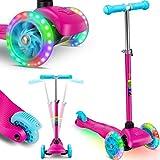 KIDIZ® Roller Kinder Scooter Pro1 Dreiradscooter mit PU LED Leuchtenden Räder Kinderroller Tret-Roller höhenverstellbarer cityroller Kinderscooter für Kinder Jungen Mädchen ab 3-12 Jahre, Pink