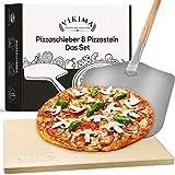 Vikima Pizzastein & Pizzaschieber Set | Pizzastein für Backofen und Gasgrill | XL Pizzaschieber Edelstahl | Backstein für Brot, Flammkuchen und Pizza | Pizza Stone auch für Steinofen