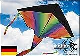 molinoRC Wunderschöner Drachen-Rainbow | Drache Regenbogen | Herbstdrachen Inclusive 30m Drachenschnur | Erwachsene und Familien | Drachenflieger | Blitzversand